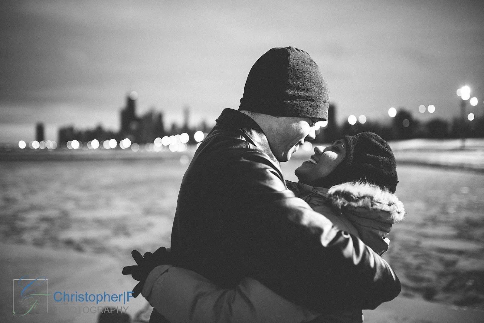 Snowy Winter Chicago Engagement Session