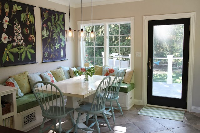 Banquette eating area, vintage school charts  -- The Impatient Gardener