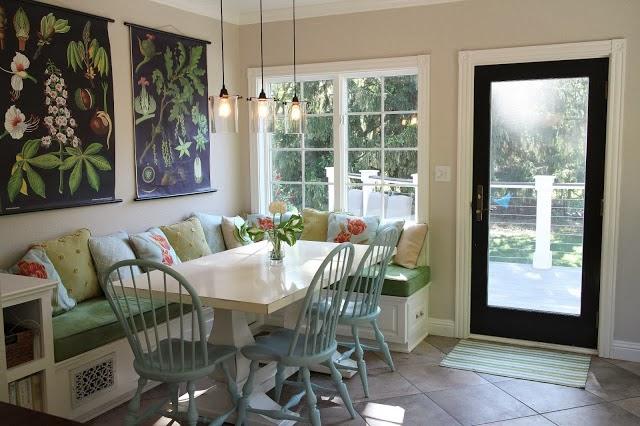 Banquette eating area, vintage school charts  -- The Impatient Gardener