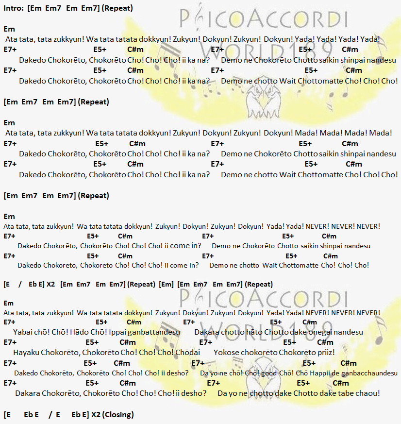 Psicoaccordiworld189 Babymetal Gimme Chocolate Chords