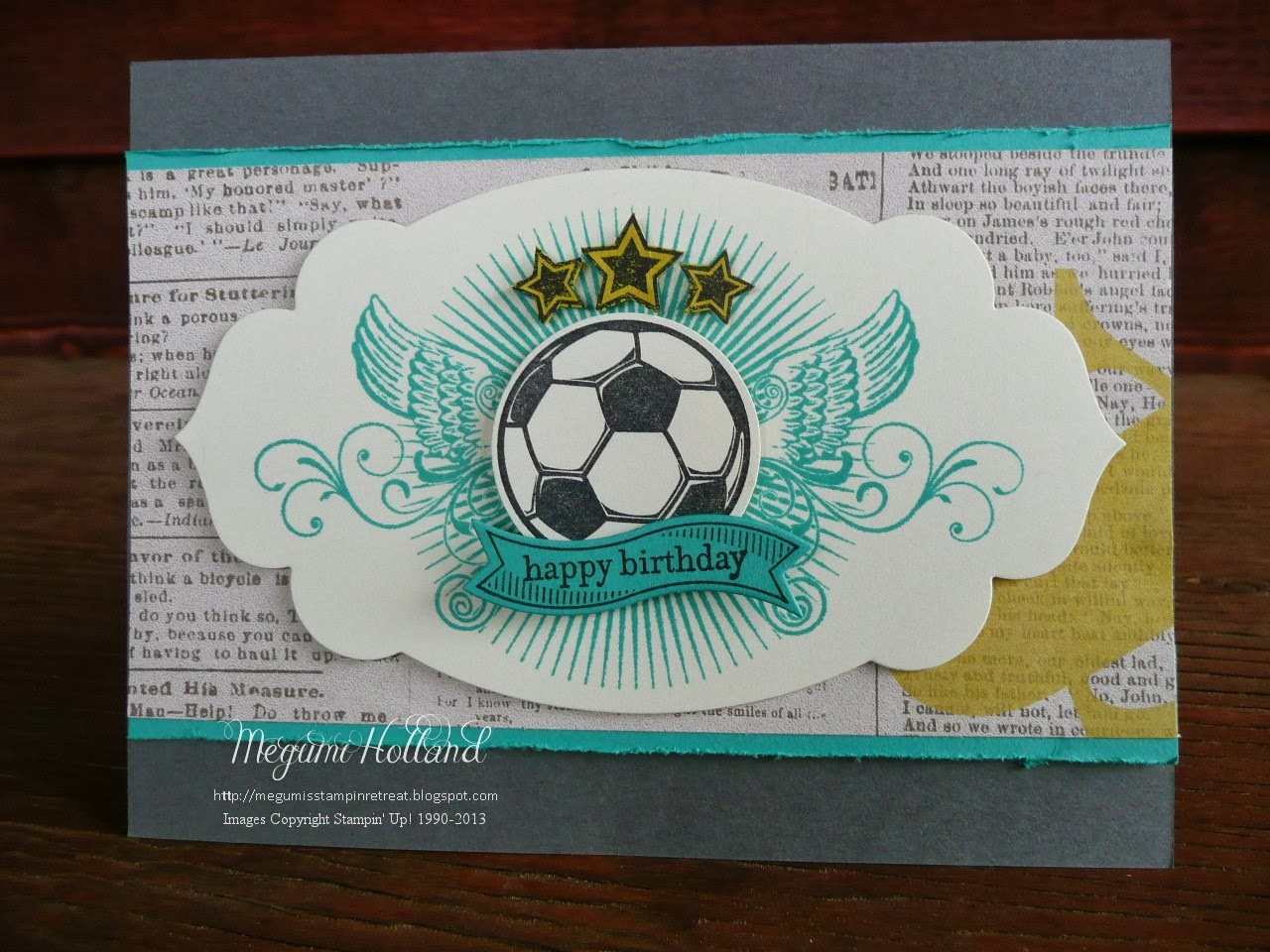 megumi's stampin retreat great sport soccer birthday card  big, Birthday card