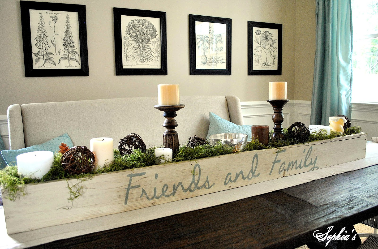 Design and decor planter box centerpiece for Long dining room table decor
