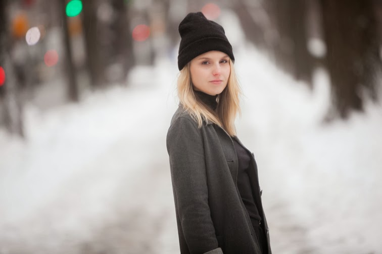 Splendid Turtleneck, black and grey, monochromatic, Club Monaco coat, American Apparel beanie, outerwear, winter, blonde, messy hair
