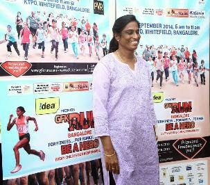 PT Usha lends her support for the GFKRun 2014 in Bangalore