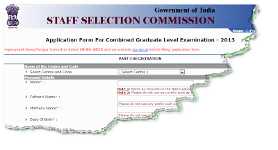 SSC CGL Exam 2013 Online form