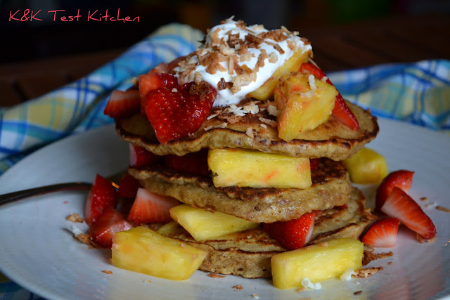 oatmeal pancakes recipe with strawberry and pineapple