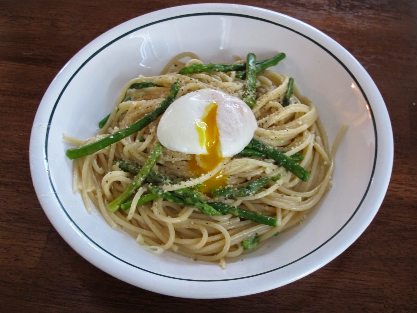 Spaghetti with Asparagus and Poached Egg