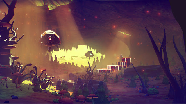 No Man's Sky Preview cave and sentinels