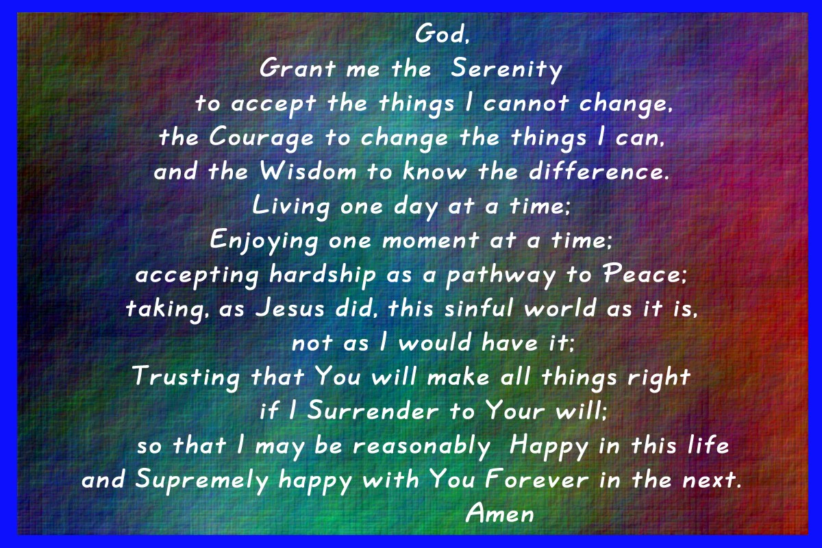 Are you living common law with jesus serenity prayer the complete