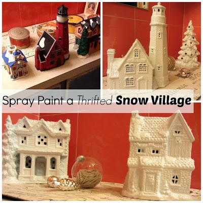 Spray Painted Mismatched Snow Village www.organizedclutterqueen.blogspot.com