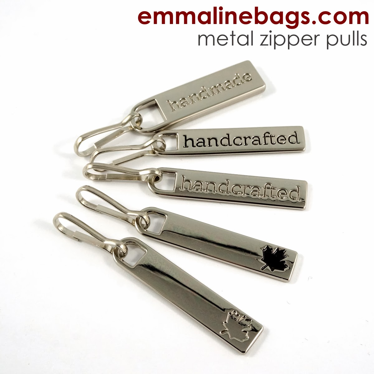 Metal zipper pulls for handmade bags
