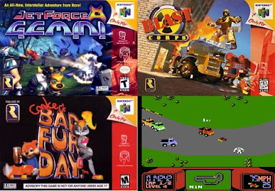 Box art for Nintendo 64 games Jet Force Gemini, Blast Corps., Conker's Bad Fur Day, and screenshot of R.C. Pro-Am for NES