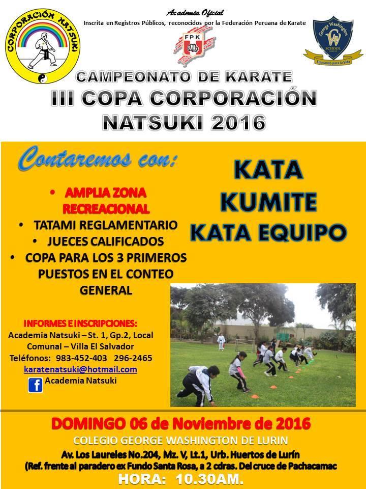 """CAMPEONATO DE KARATE """"III Copa Corporacion Natsuki """" Lima-Perù"""