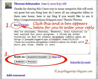 Screenshot to illustrate how to reply to Threaded Comments on Blogger - #2