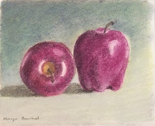 soft pastel painting of two apples by Manju Panchal