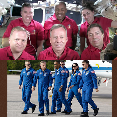 Shuttle Discovery's Mission STS-133: Crew posing in the Shuttle before re-entry and at the bottom during training before the mission. NASA, 2011.