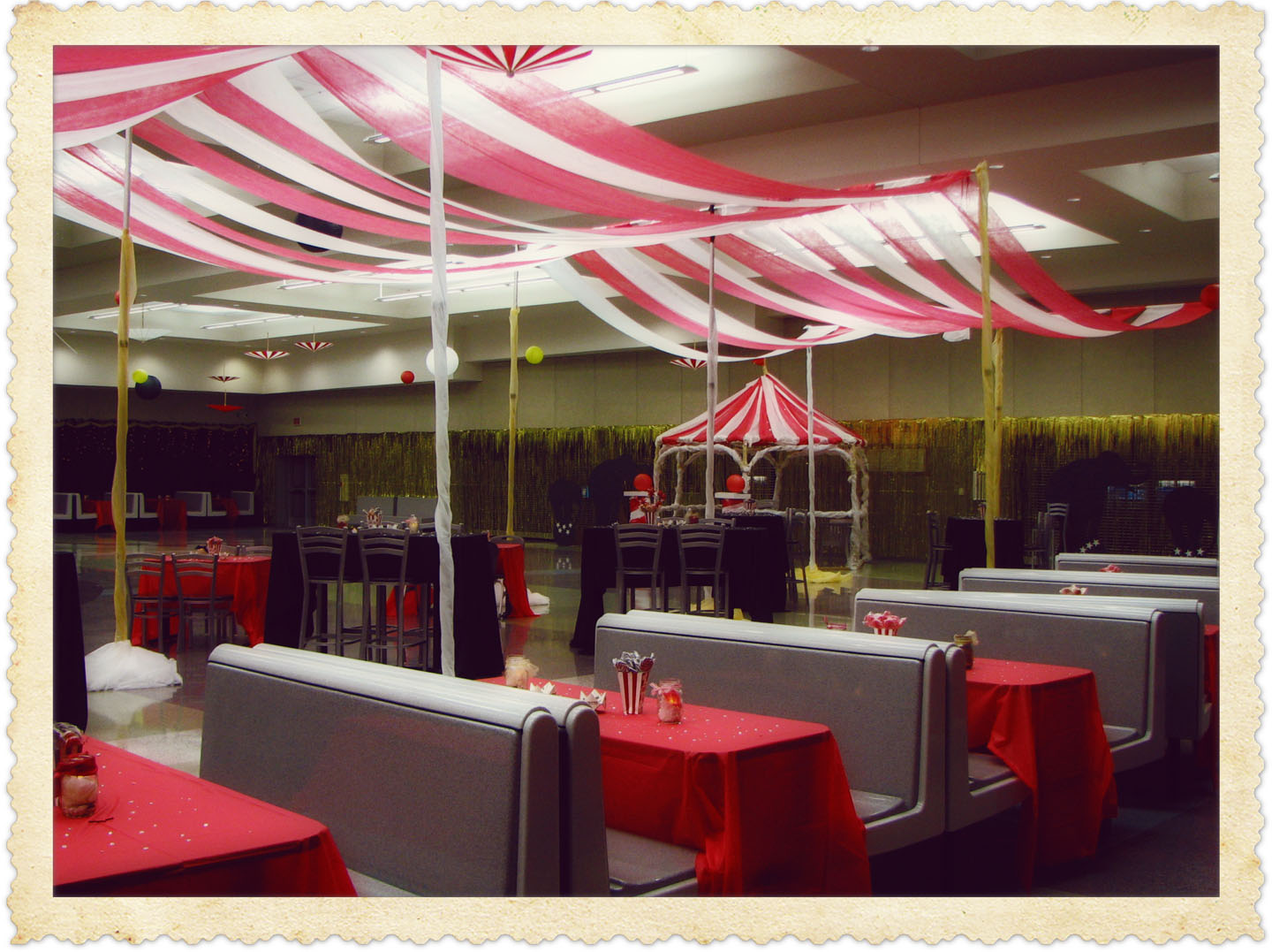 The canopy  circus tent  was 19  gossamer in red and white draped over pole u0026 drape rods. The tables were decorated with popcorn boxes filled with swirly ... & Quality Time: A Night at the Circus
