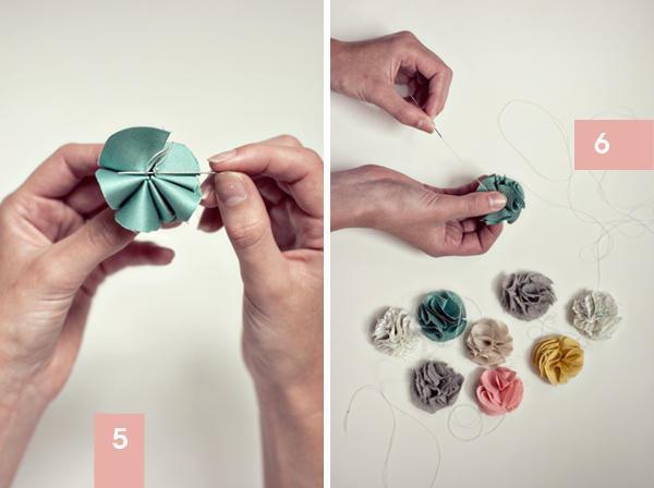 DIY Guirnalda hecha con flores de tela