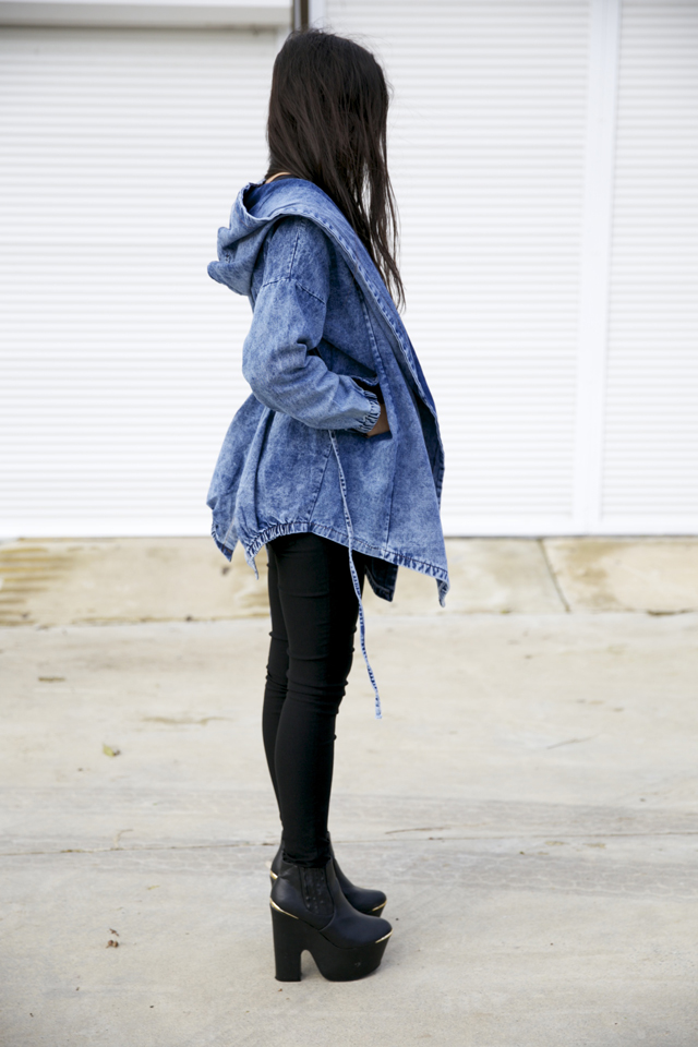 Yesfor.com denim jacket, denim parka, denim anorak.