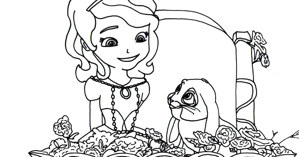 Sofia The First Coloring Pages: Clover Blue Ribbon Bunny - Sofia the ...