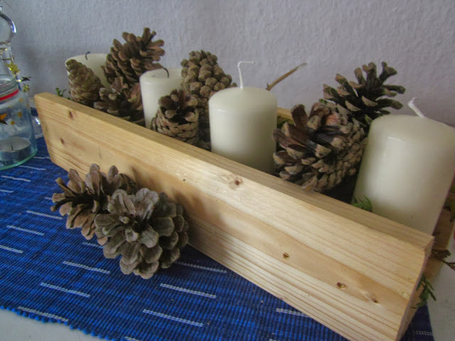 advents candles DIY pine cone wood
