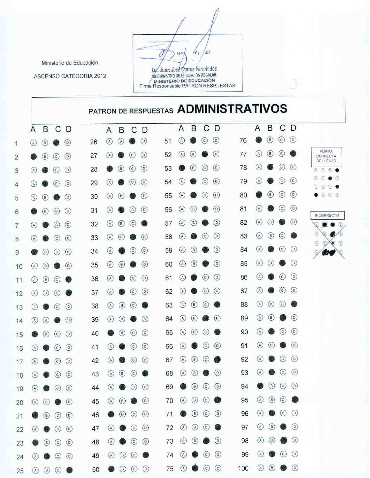 HOJA DE RESPUESTAS EXAMEN DE ASCENSO - 2012