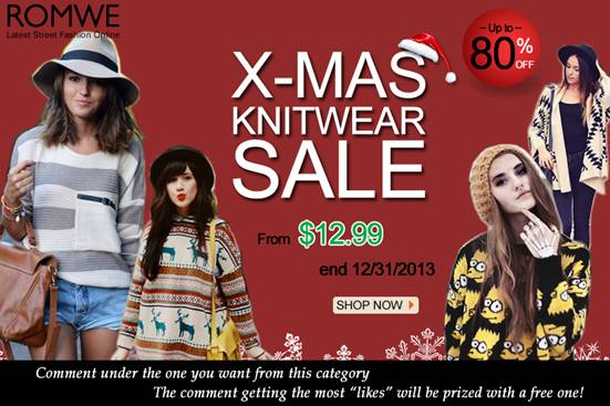 xmas knitwear sale romwe! up to 80% off!