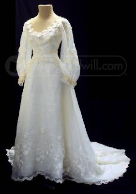wedding gown being sold by Goodwill
