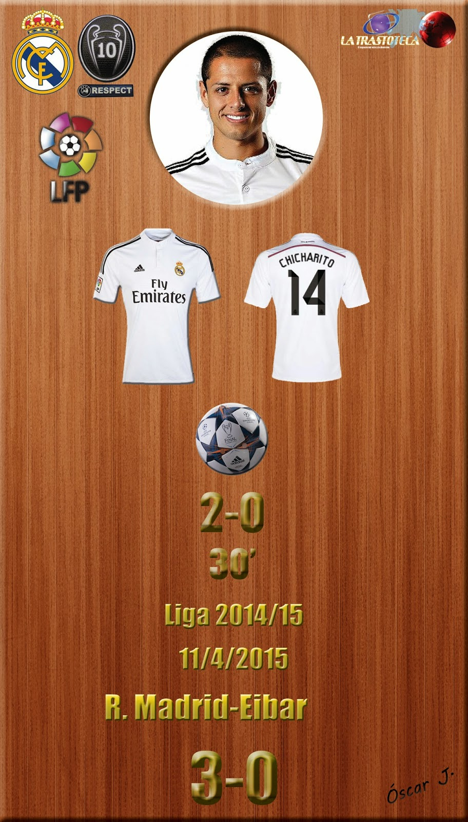 Chicharito (2-0) - Real Madrid 3-0 Eibar - Liga 2014/15 - Jornada 31 - (11/4/2015)