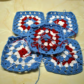 Liam's Red, White & Blue Granny Blanket