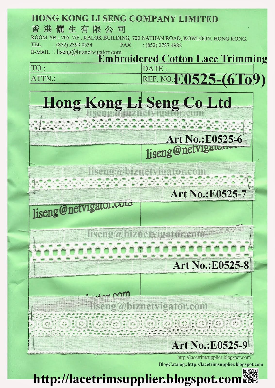 Embroidered Cotton Lace Trimming Factory - Hong Kong Li Seng Co Ltd