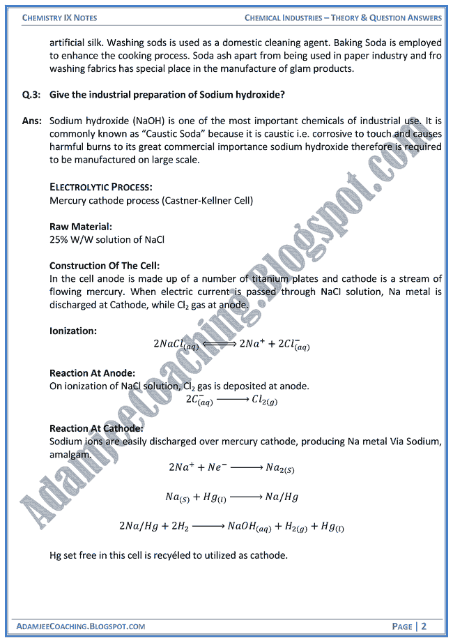 chemical-industries-theory-notes-and-question-answers-chemistry-ix