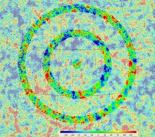 A map of the cosmic background radiation (CMB) in the universe with circles