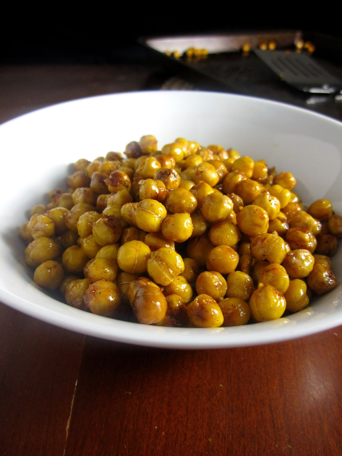 Baked crispy chickpeas topped coated in honey and cinnamon. The ...