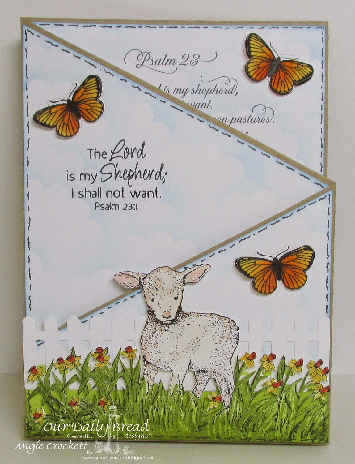 ODBD Psalm 23 Script, ODBD The Shepherd, ODBD Butterfly and Bugs, ODBD Custom Butterfly and Bugs Dies, ODBD Fence Die, ODBD Custom Clouds and Rain Dies, Card Designer Angie Crockett