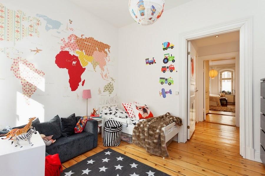pokój dziecięcy, styl skandynawski, gwiazdki, dywan, tapeta, mapa