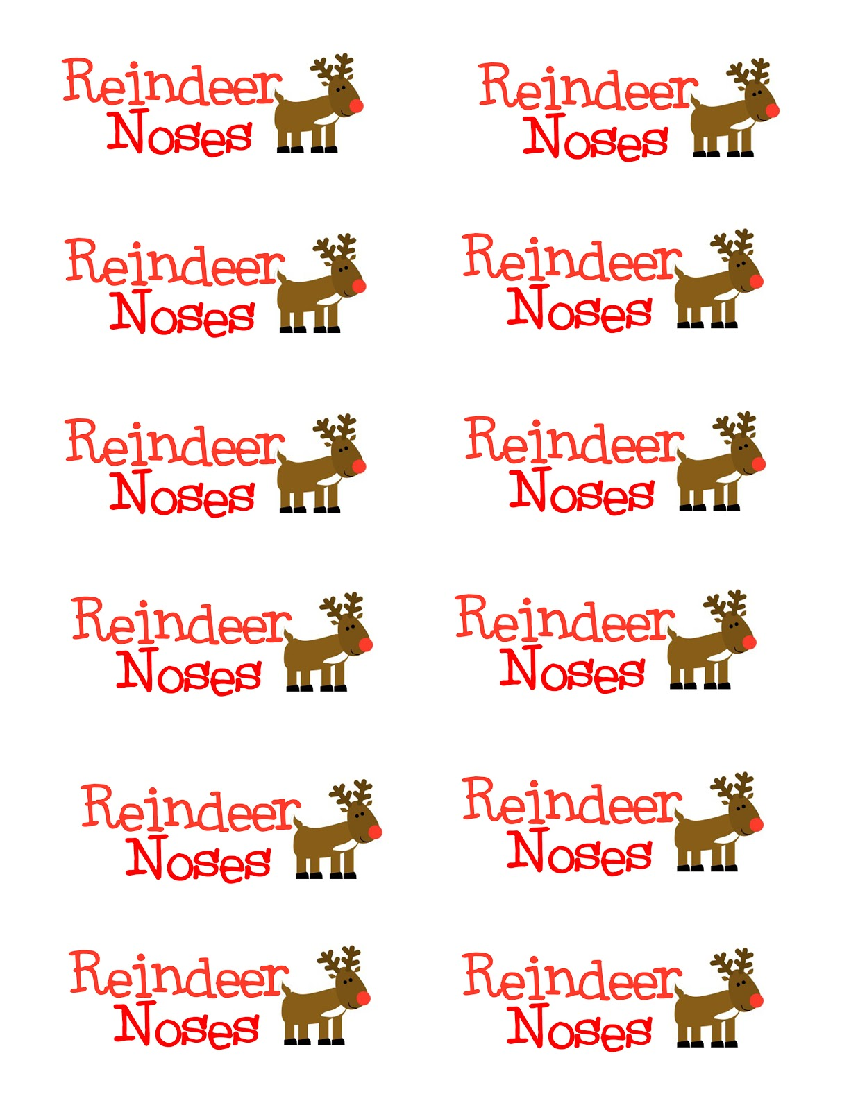 reindeer noses printable gift tags MEMES