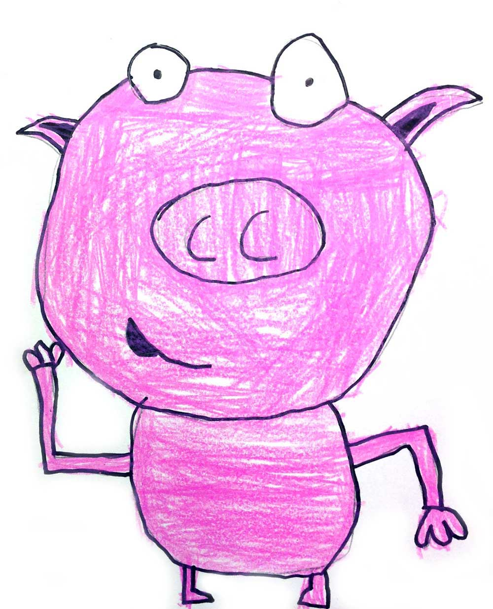 cartoon dancing pig