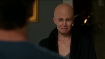 Monica Potter as Kristina Braverman from Parenthood in bald cap