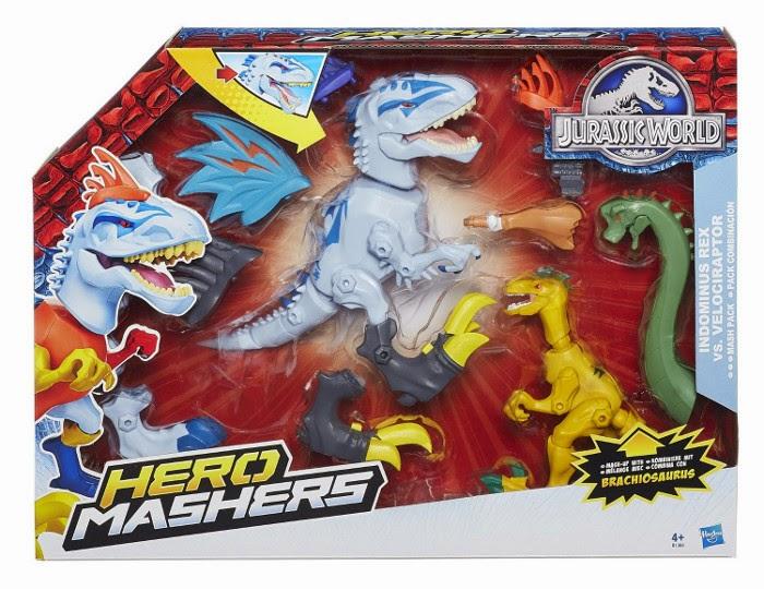 JUGUETES - Jurassic World : Super Hero Mashers  Indominus Rex vs. Velociraptor | Pack Combinación  Hasbro B1388 | Toys | Película 2015  A partir de 4 años