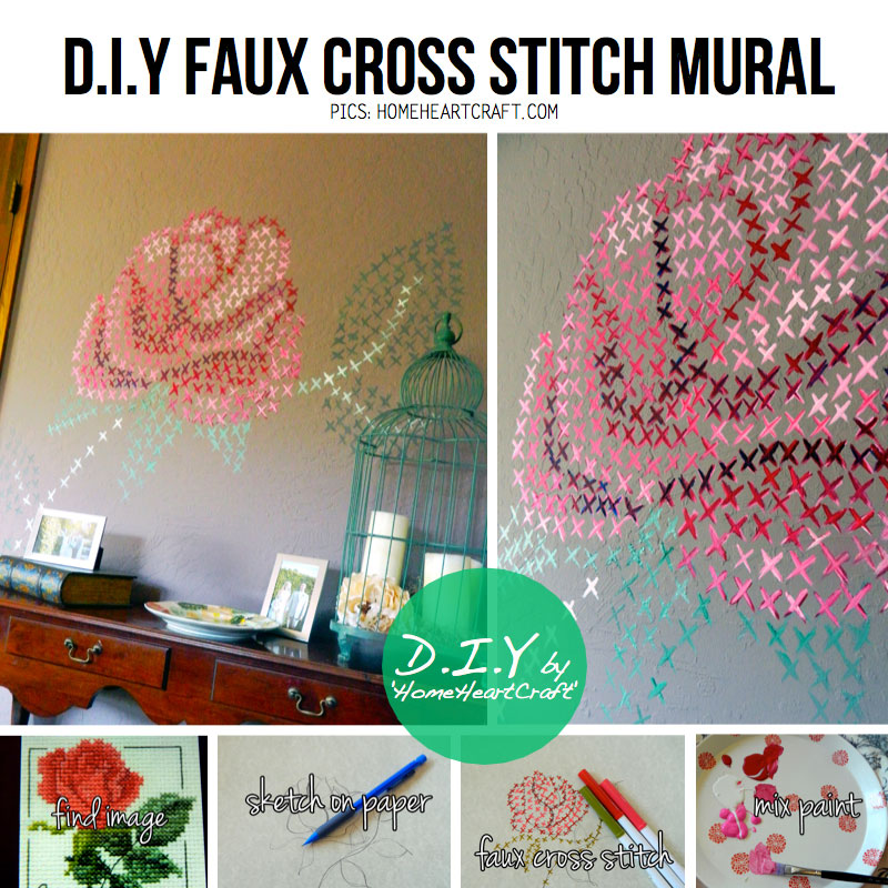Diy interior wall art trashion helsinki for Cross stitch wall mural