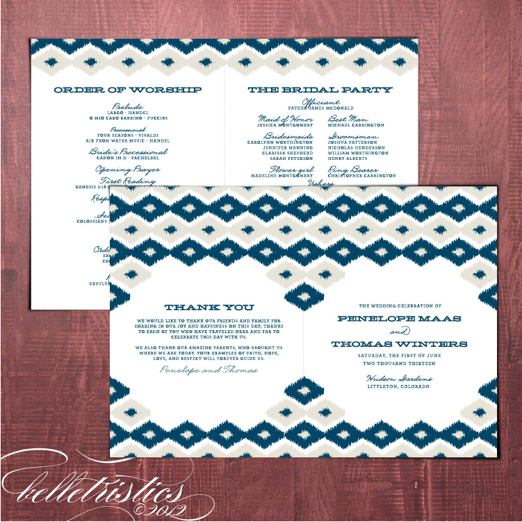 bold modern ikat printable diy ceremony program template