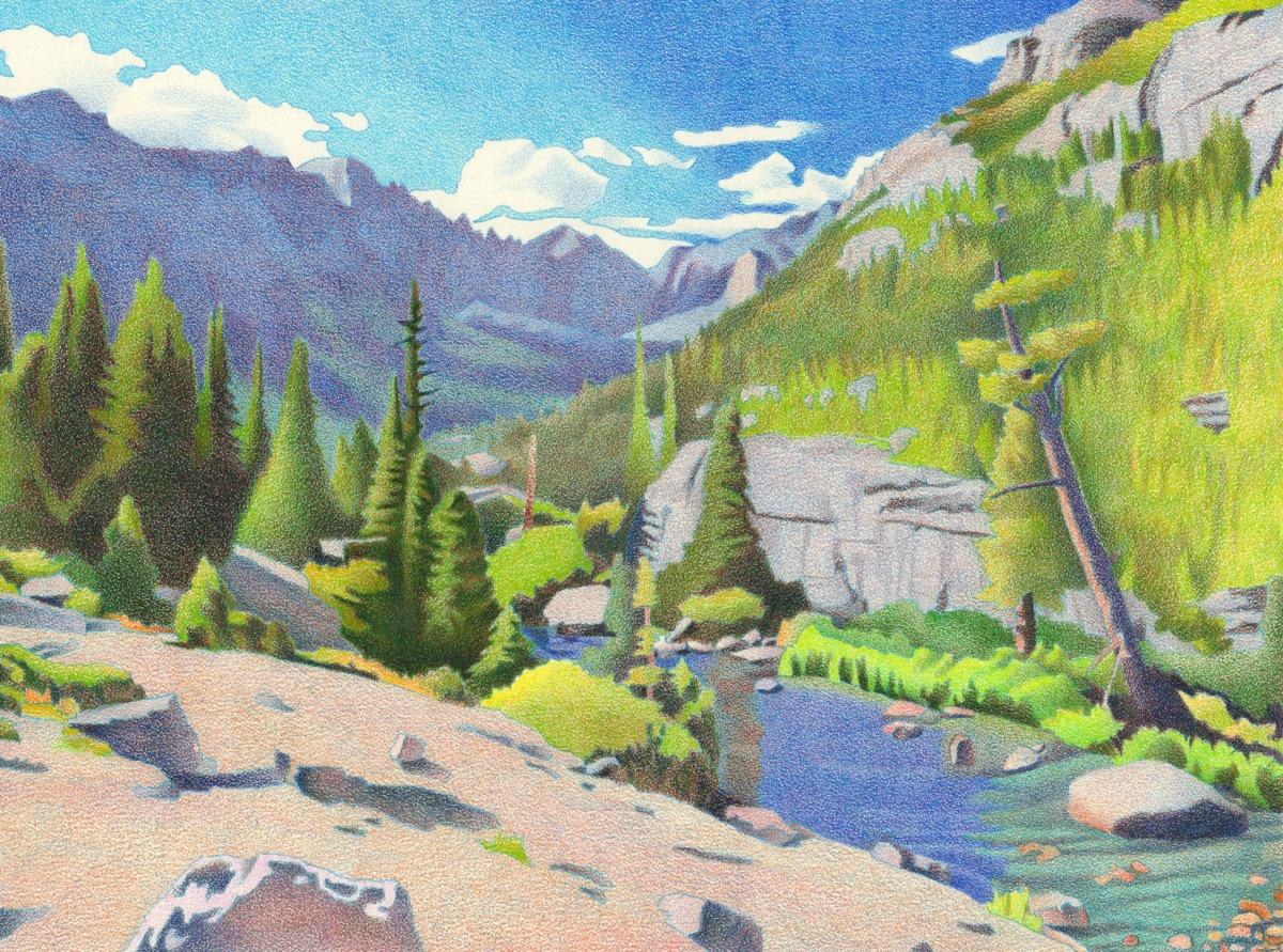 Impression Evergreen: Glacier Gorge - Colored Pencil Drawing