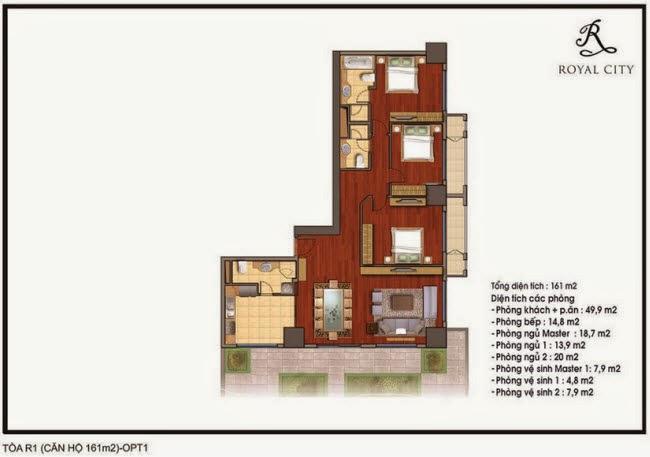 Chi tiết thiết kế căn hộ toà R1 chung cư Royal City diện tích 161 m2