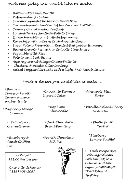 The Cooking Schaack: Healthy Cooking Class Menu For Couples