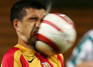 Funny photo, soccer ball in the face