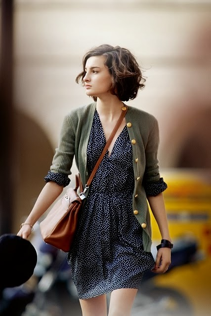 Blue Dress,Green Cardigan And Brown Leather Bag