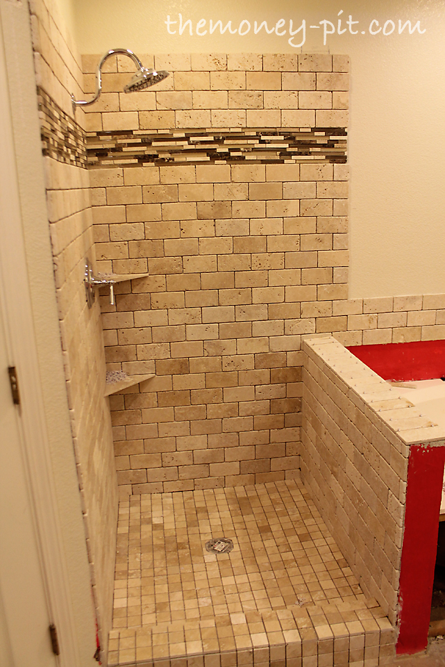 Master Bathroom Knee Wall master bathroom week 6: tiling shower floor, curb and knee wall