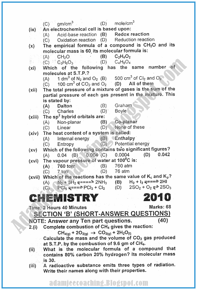 chemistry-2010-past-year-paper-class-XI