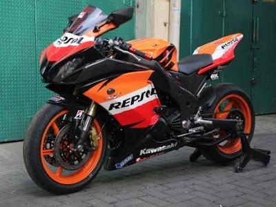 Modifikasi Kawasaki Ninja Gaya Repsol Honda